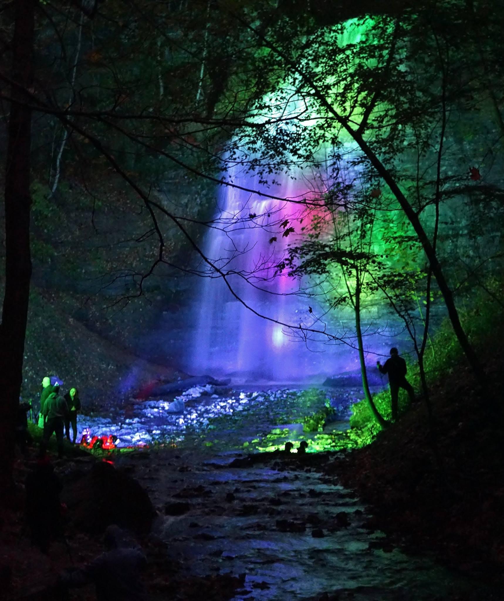 Tiffany Falls illumination last night.